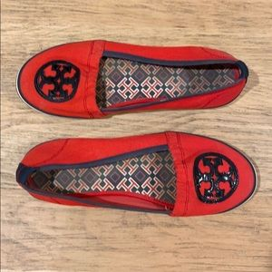 Tory Burch Red and Navy Flats size 9.5